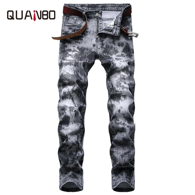 بنطلون جينز رجالي بطيات ، جينز مطاطي عصري ، نمط ريترو ، طباعة ليزر ، مقاس 42 ، للربيع والصيف ، 2020