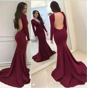 Vkbridal Long Sleeve Mermaid Prom Dresses Burgundy Sweep Train Party Dresses Sexy Back Formal Evening Gowns for Women