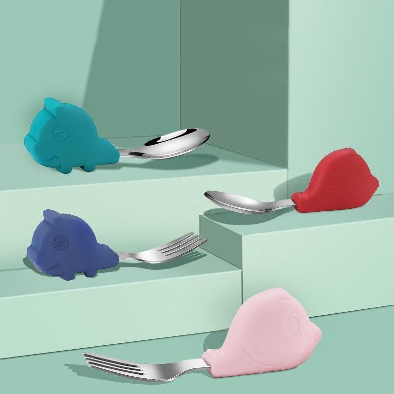Детские гаджеты, набор посуды, детская посуда из нержавеющей стали, посуда для малышей, столовые приборы, мультяшное блюдо для кормления мла...