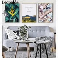 nordic green leaf canvas painting you have to believe in yourself letter print landscape poster modern home room wall decoration
