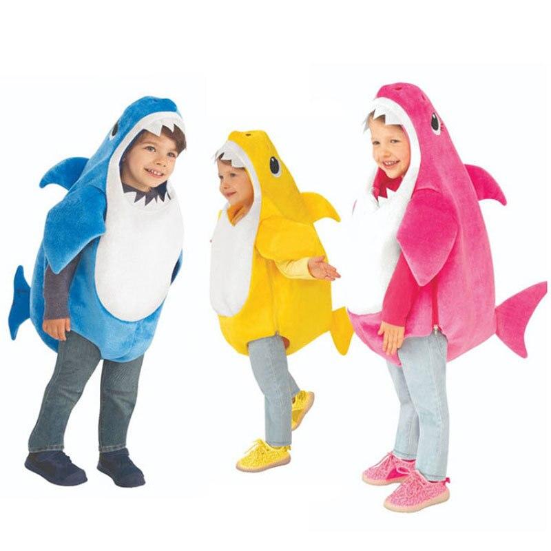 Nova chegada unisex criança família tubarão crianças halloween 3 cores cosplay trajes do bebê