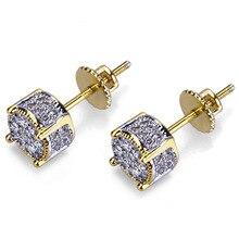 Miqiao amarelo ouro redondo piercing hip hop completo diamante brincos para mulheres moda masculina jewerly orelha acessórios presente boho