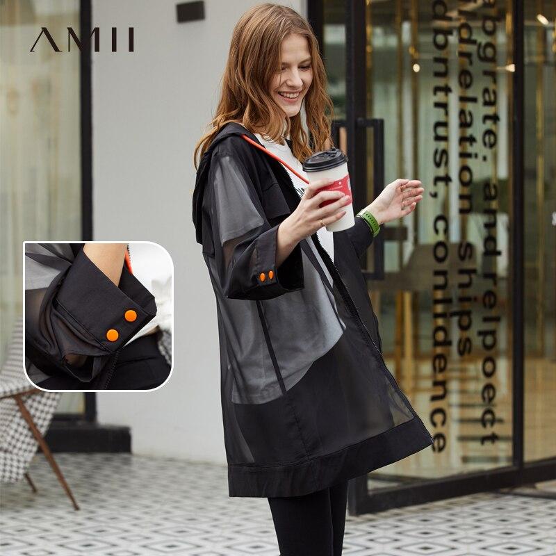 Amii minimalista Primavera Verano anyi-uv Thin Coat mujeres Fahion hoofied Full sleeve Zipper camisa Tops 11940113