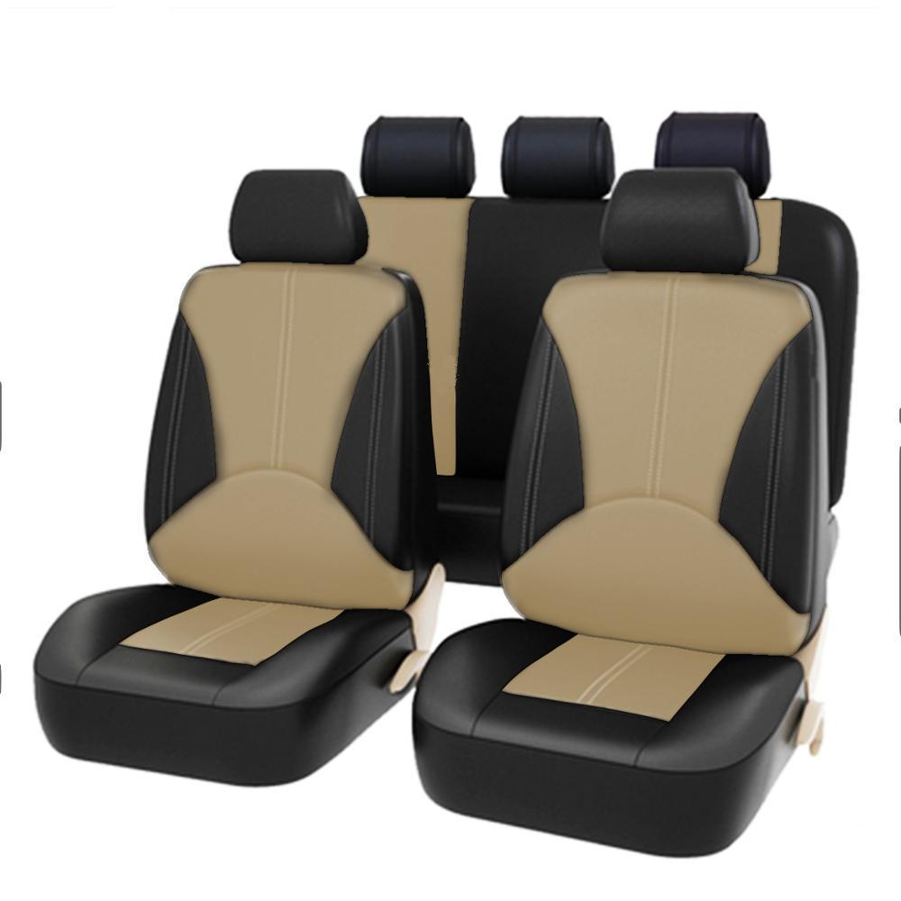 9PCS Universal Pu Funda asientos automovil de asiento de coche Faux Leather Four Seasons Universal Cushion 5-seater Car Seat Cover Fundas de coche accesorios para autos