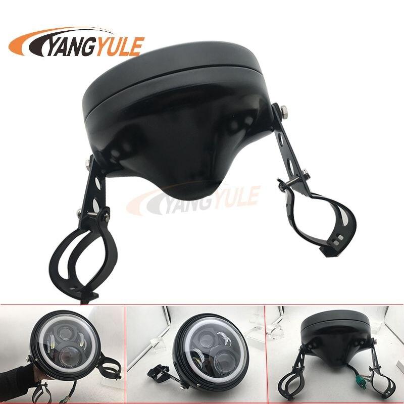 7 polegada led farol da motocicleta 7 polegada concha habitação farol suportes para y amaha h onda s uzuki moto