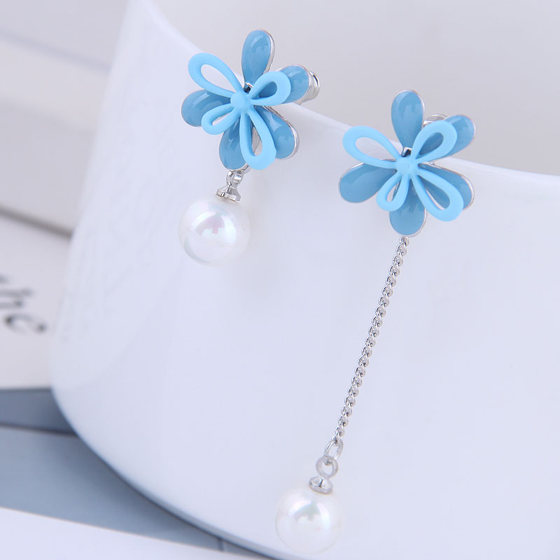 Pendientes largos con borla y Flor de perla a la moda, Pendientes rojos y azules para mujer