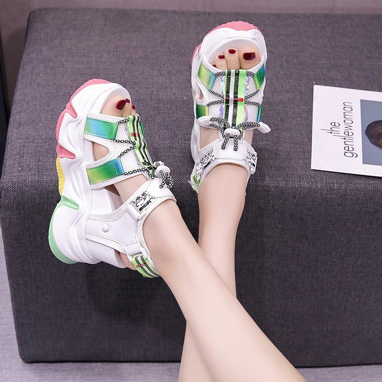 Sandalias de plataforma de 10CM, Sandalias gruesas con suela de Muffin de Mujer 2020, Sandalias súper de tacón alto con suela de arco iris, Sandalias de playa para verano, zapatos de Mujer