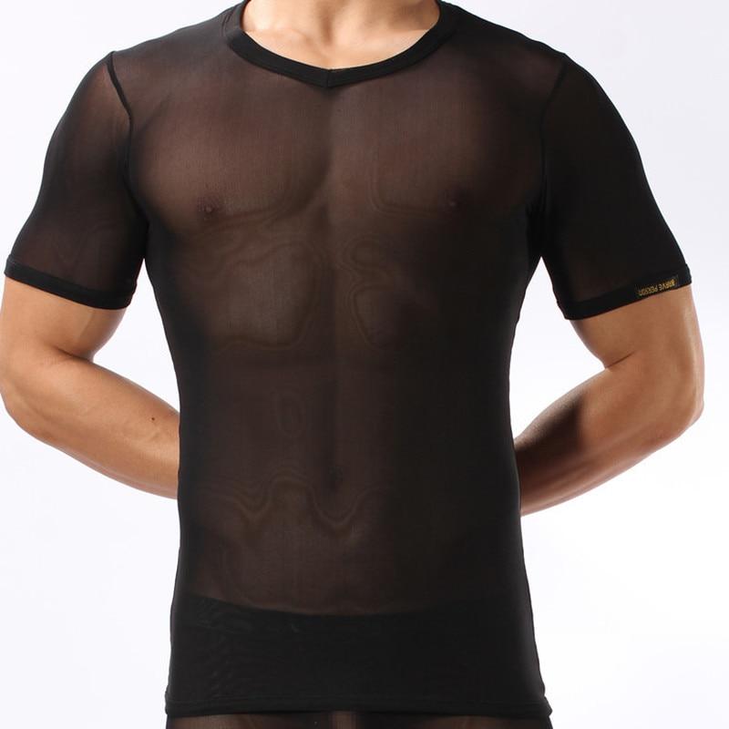 Ropa interior para hombre, camisetas de manga corta ultrafina, camisetas transpirables de seda de hielo para Gay, camisetas para hombre, ropa de dormir Sexy