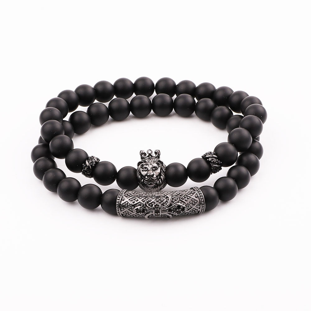 JARAVVI Simple Design CZ Lion Charm Natural Stone Matte Onyx Elastic Bacelet Set Men Jewelry Gift