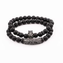 JARAVVI Simple Design CZ Lion Charm Natural Stone Matte Onyx Elastic Bacelet Set Men Jewelry Gift