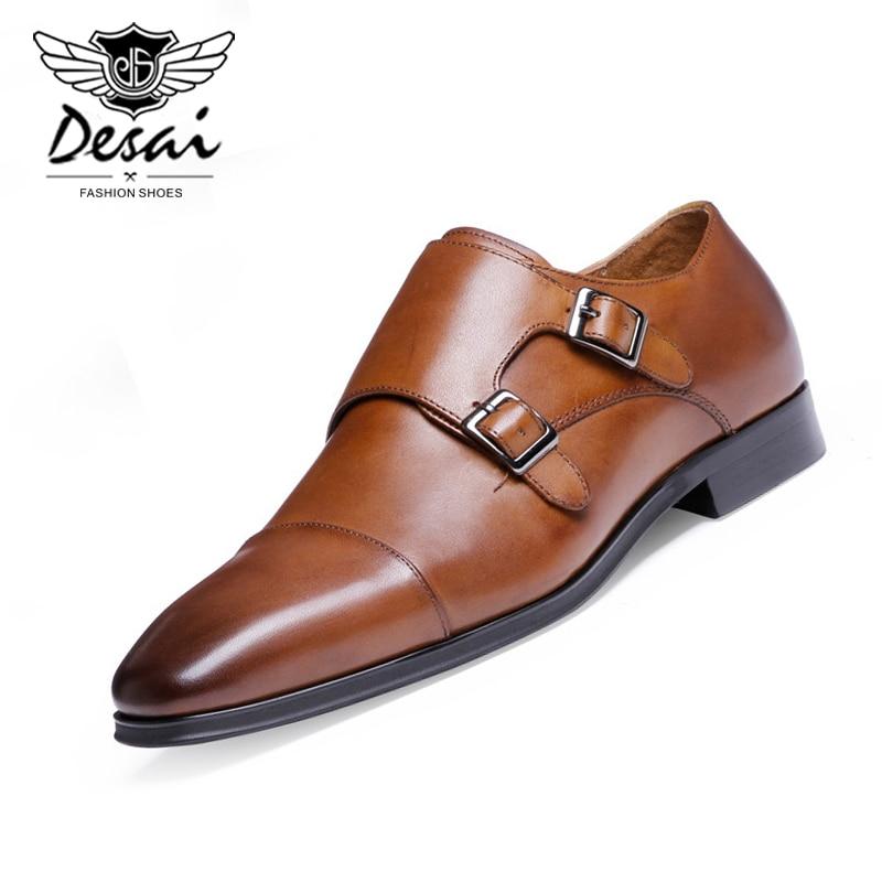 DESAI ماركة جلد طبيعي فاخر أكسفورد أحذية الرجال وأشار حذاء بتصميم مقدم القدم مع مشبك مزدوج الذكور الزفاف أحذية الحفلات
