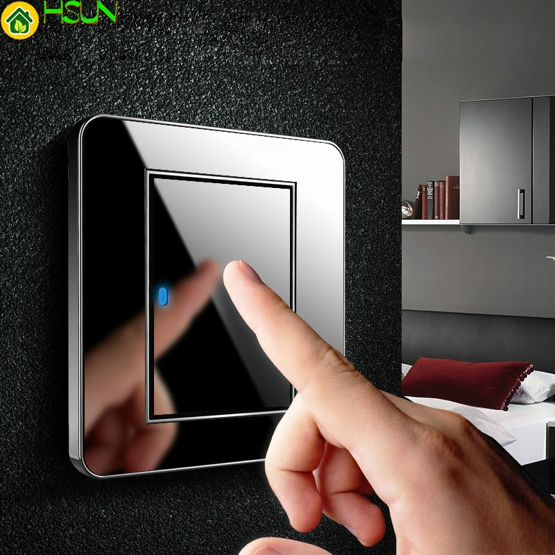 Type 86 Black mirror switch Household Wall TV Computer socket LED Light- Point switch 1 2 3 4 gang 1 2 way  EU socket USB ce 86 type led random point switch mirror acrylic household stainless steel brushed panel 1 2 3 4 gang 1 way 2 way switch
