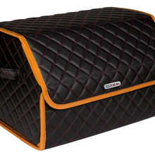 Organizer bag in the car trunk of eco-leather black with red thread vicecar with BMW logo (orange edging)