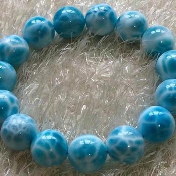 Top Natural Blue Larimar Gemstone Bracelet Women Men 15.5mm Stretch Round Beads Larimar Water Pattern Jewelry AAAAAAA