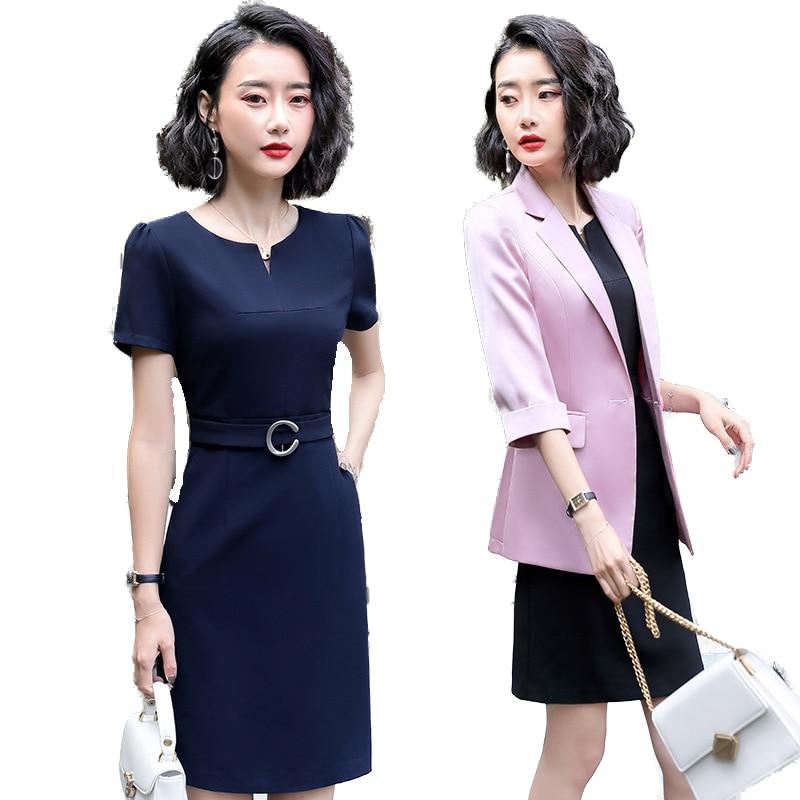 Fashion Ladies Pink Blazer Women Dress Suits Ladies Dress and Jacket Sets Work Wear Half Sleeve Business Dress for Women Office