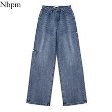Nbpm New 2021 Korean Fashion Ripped Jeans For Women Baggy Jeans Woman High Waist Streetwear Girls Wi