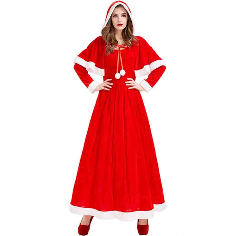Red Velvet Long Dress With Clock Christmas Mrs. Christmas Cos Costume For Women Party Dress New Year Costume For Women Plus Size
