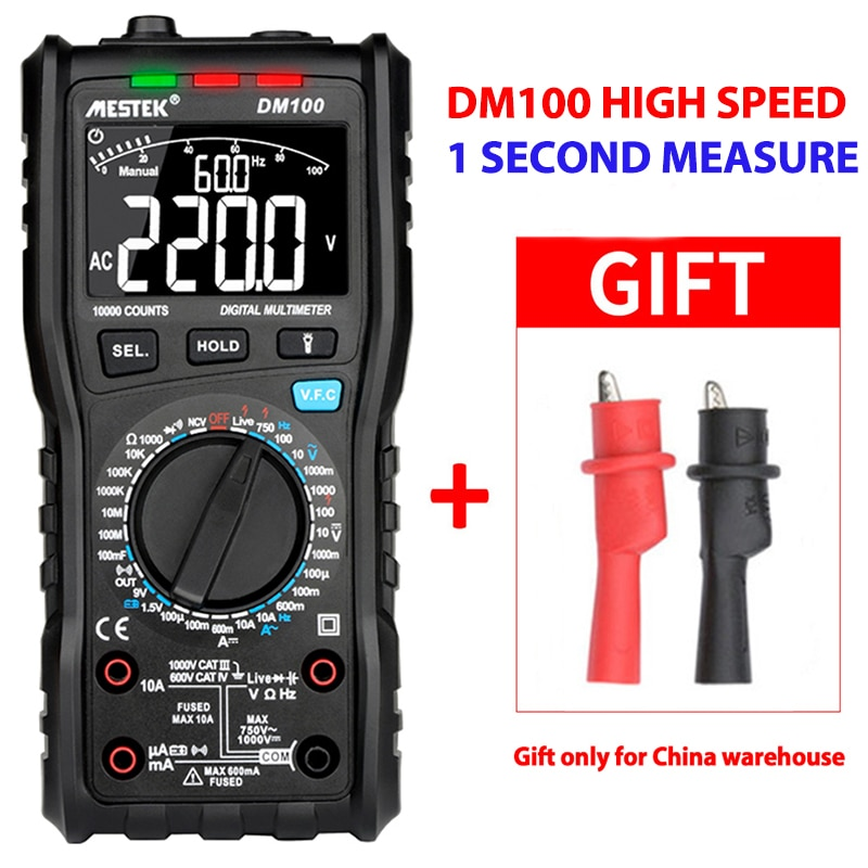 Multímetro Digital MESTEK DM100 de alta velocidad Doble núcleo inteligente t-rms NCV multímetro de temperatura fusible antiquemaduras multímetros de alarma