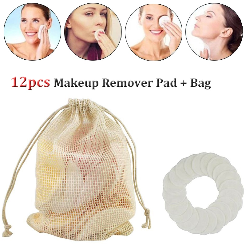 New Makeup Remover Pads Reusable Cotton Bamboo Fiber Washable Make Up Facial Skin Care Nursing Rounds Pad Cleansing Tool 12pcs недорого