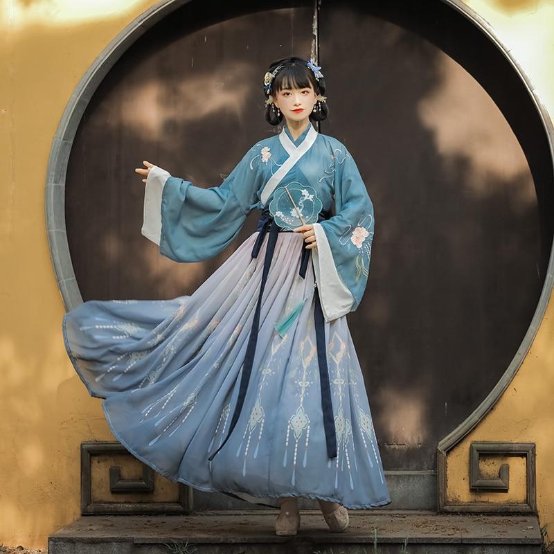 Chinese Traditional Hanfu Costume Woman Ancient Han Dynasty Dress Oriental Princess Dress Lady Elegance Tang Dynasty Dance Wear фото