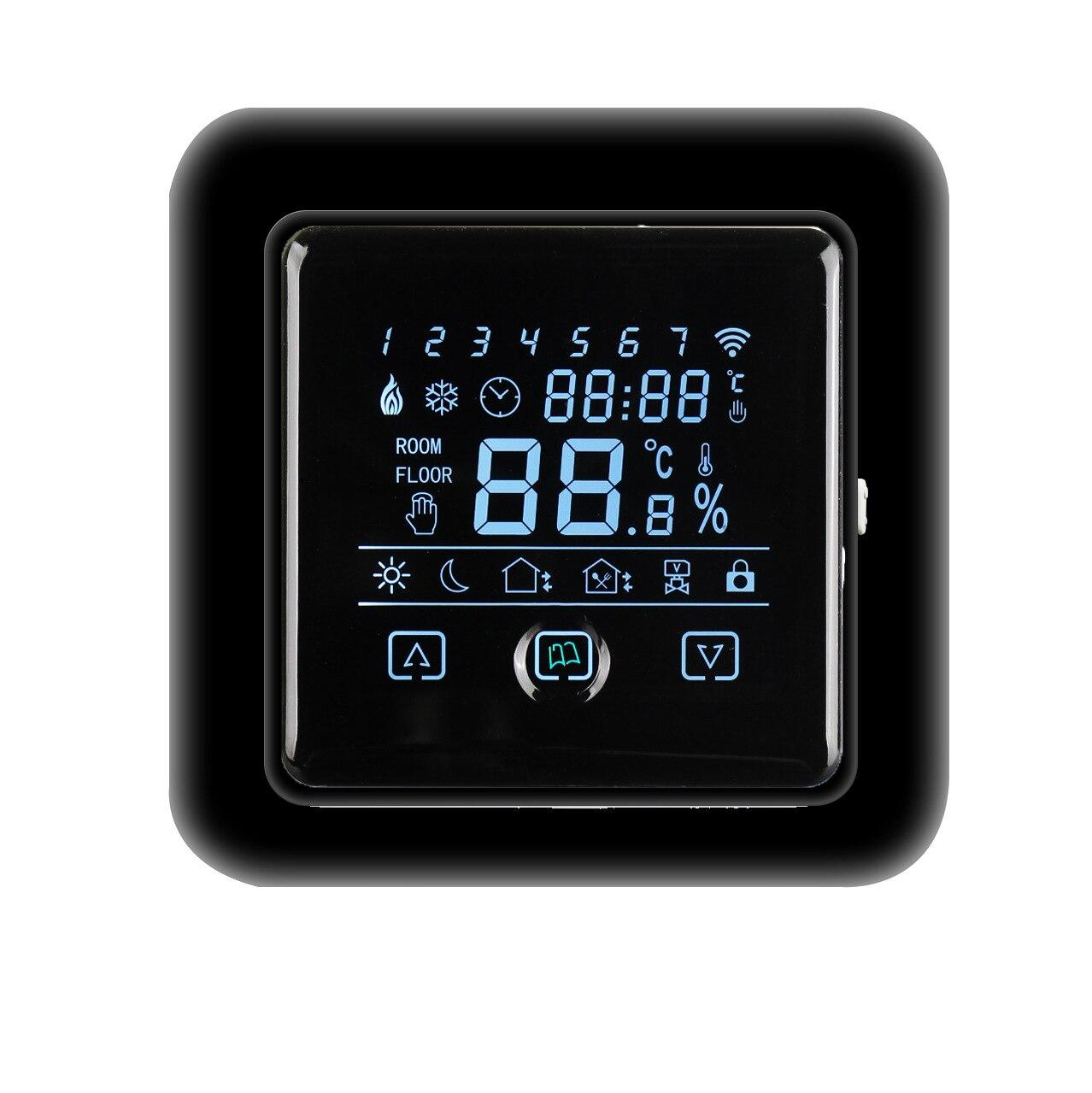 Домашний умный термостат, термостат для подогрева пола С трехцветным сенсорным экраном M108, электрический подогрев пола 16 А