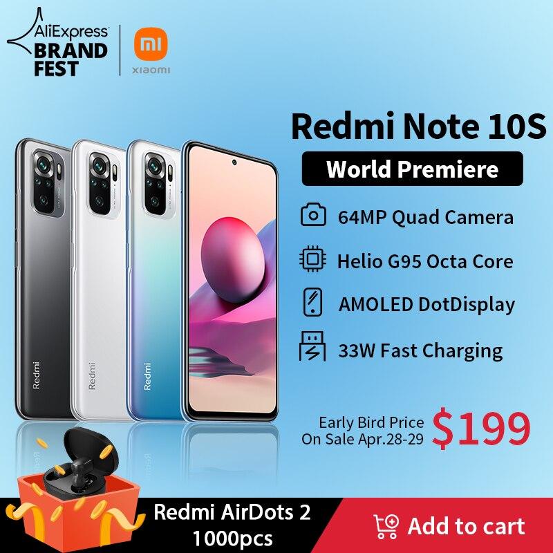 [World Premiere ] Global Version Xiaomi Redmi Note 10S Smartphone 64MP Quad Camera Helio G95 6.43