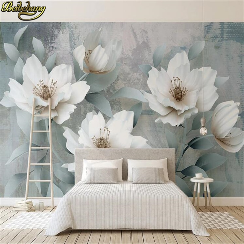 beibehang custom Embossed carved flowers wallpaper for living room wallpaper bedroom vintage oil painting background wall paper beibehang formaldehyde free classic wall paper embossed lotus vintage watercolor lotus leaf porch decorative painting wallpaper
