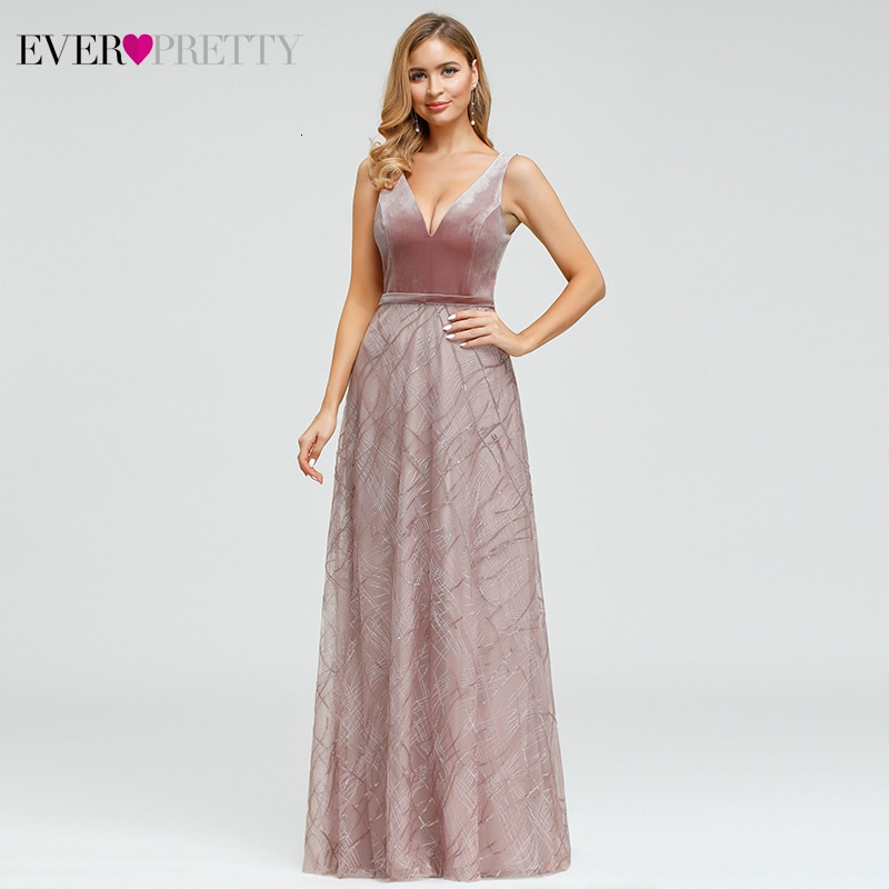 Sexy Velour Evening Dresses Ever Pretty EP00883 Sequined Deep V-Neck Sleeveless Tulle Sparkle Formal