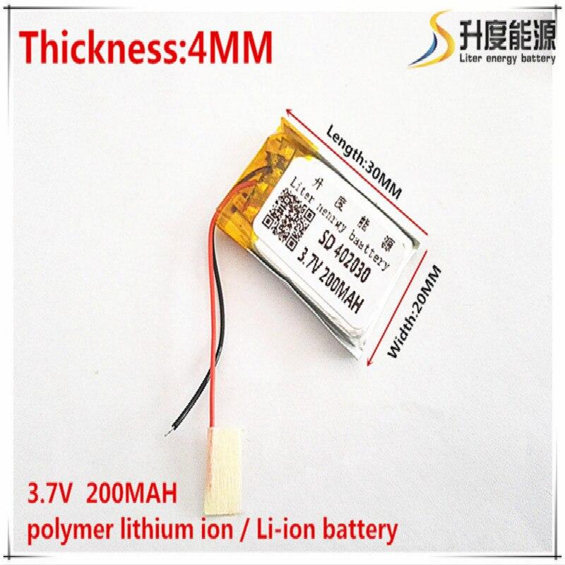 Литий-полимерные литий-полимерные аккумуляторы 3,7 В, 200 мА/ч, 402030, для Mp3, MP4, MP5, GPS, мобильных телефонов, bluetooth