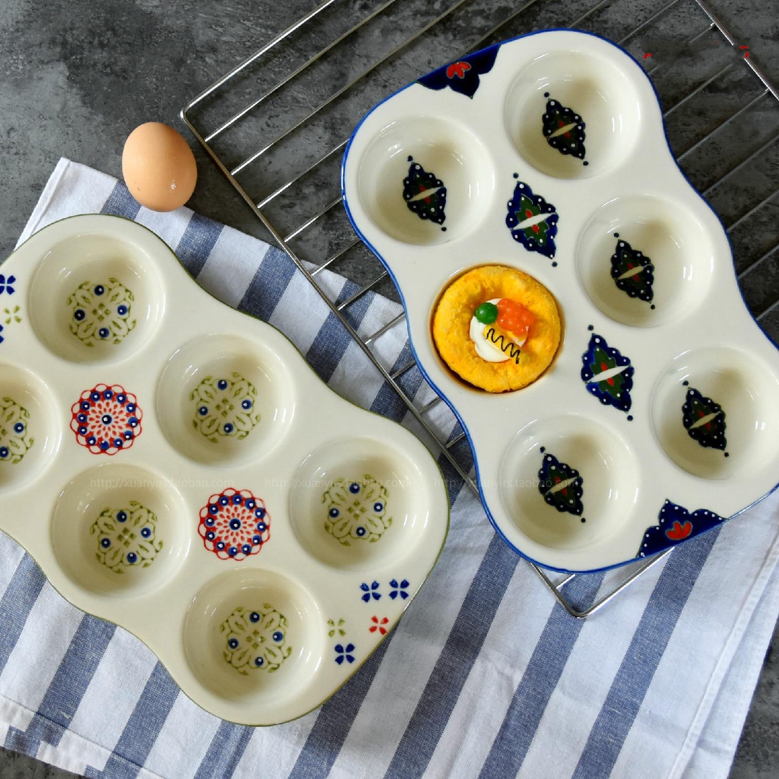De cerámica creativa Suffrey molde para hornear tartas ronda 6-enlace hornear plato antiadherente taza molde de tarta magdalenas horno hornear sartenes