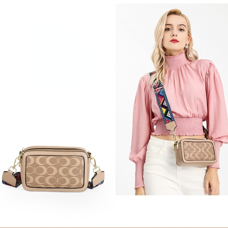 Luxury Designer Women New Style Personality Wide Shoulder Strap Camera Small Square Bag Printed One-shoulder Cross Body Bag