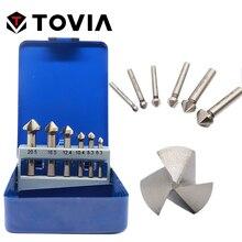 TOVIA 3 Flöte HSS Fase 90 Grad Anfasen Cutter End Mühle 6,3-20,5mm Runde Schaft Senker Bohrer set 6 stücke