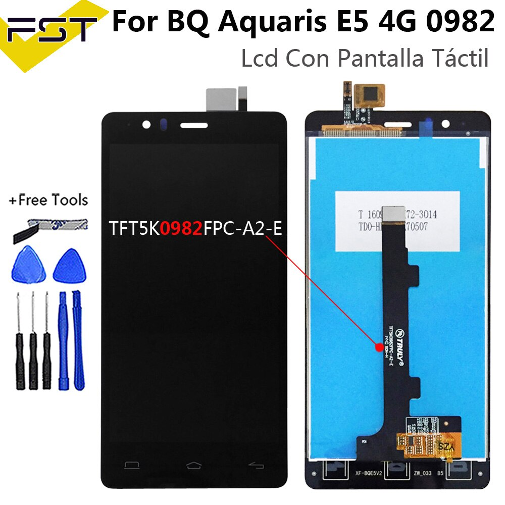 Pantalla LCD con Digitalizador de Pantalla táctil para BQ Aquaris E5 4G 0982 TFT5K0982FPC-A2-E conjunto de Pantalla LCD para BQ E5