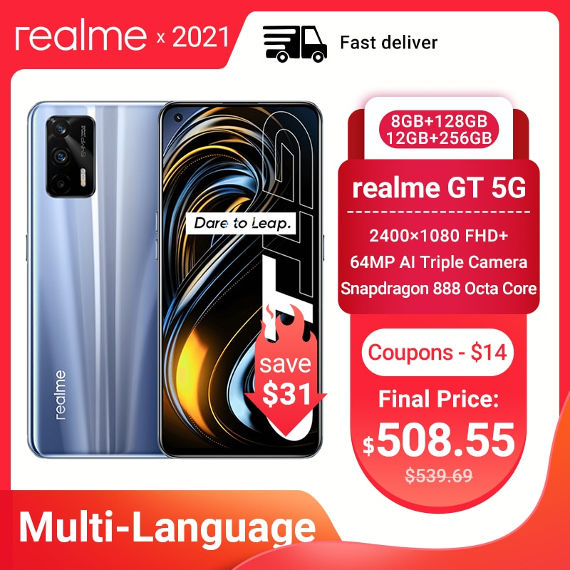Original Realme GT 5G Smart Phone Snapdragon 888 120Hz 6.43