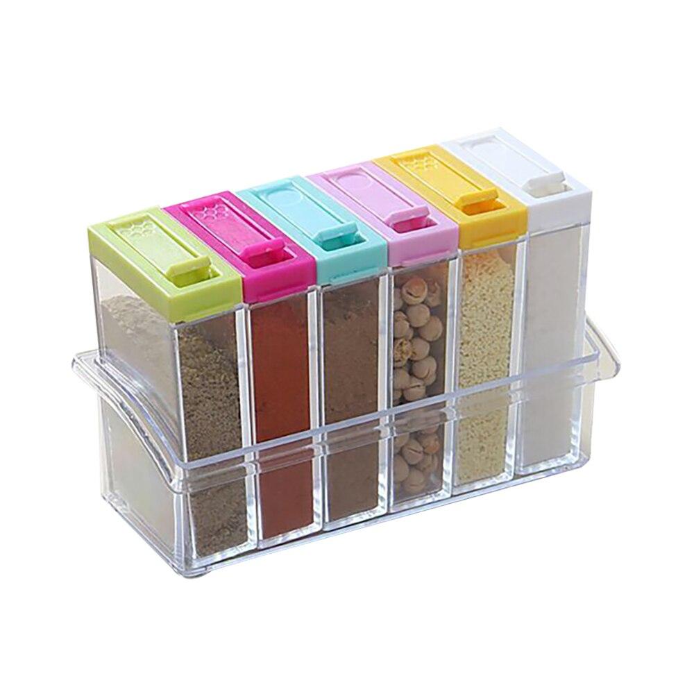 Conjunto de potes transparentes para tempero, 6 peças, caixa de sal, pimenta, temperos, garrafa de armazenamento de temperos para cozinha, condimentos, recipiente de armazenamento