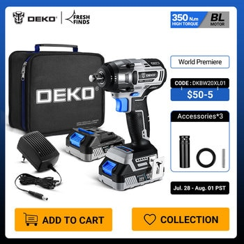 【World Premiere】DEKO 20V MAX Cordless Brushless Wrench 350N.m High Torque Electric Impact Wrench Power Tools (DKBW20XL01)