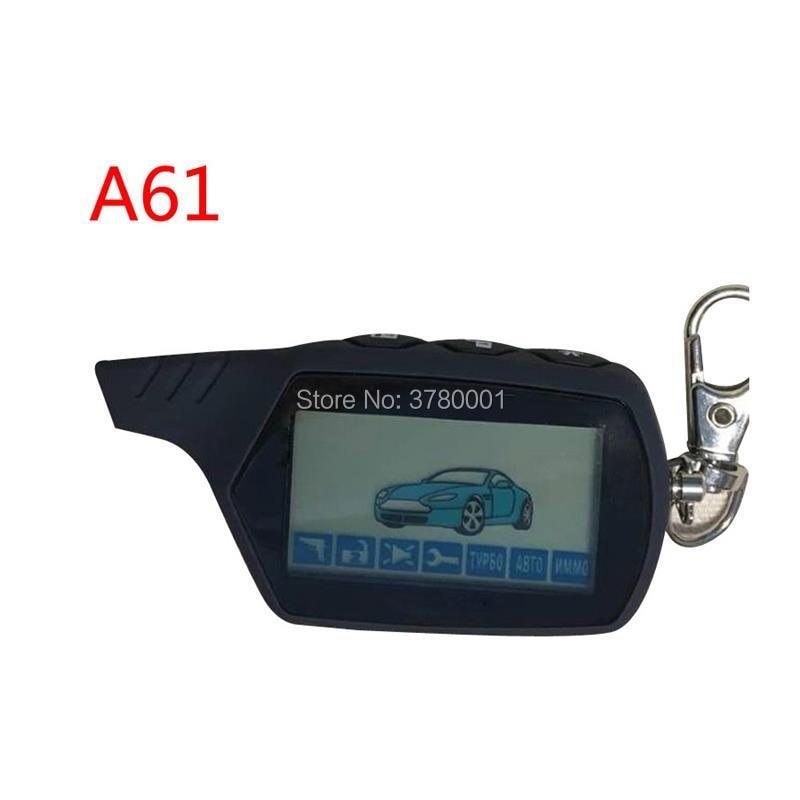 A61 de 2 LCD remoto llave de Control remoto llavero A61 para vehículo ruso de seguridad dos forma de sistema de alarma para coche Starline A61