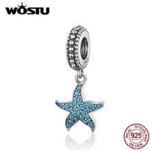 WOSTU Oceanic Starfish Floating Dangle Charm 925 Sterling Silver Blue CZ Beads Fit Original Bracelet Pendant DIY Jewelry CQC1210
