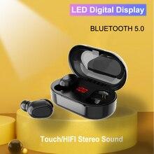 Bluetooth 5.0 Wirless słuchawka hi-fi stereofoniczne słuchawki basowe MicHeadset wodoodporny wyświetlacz led słuchawki douszne do Samsung Xiaomi Note 10