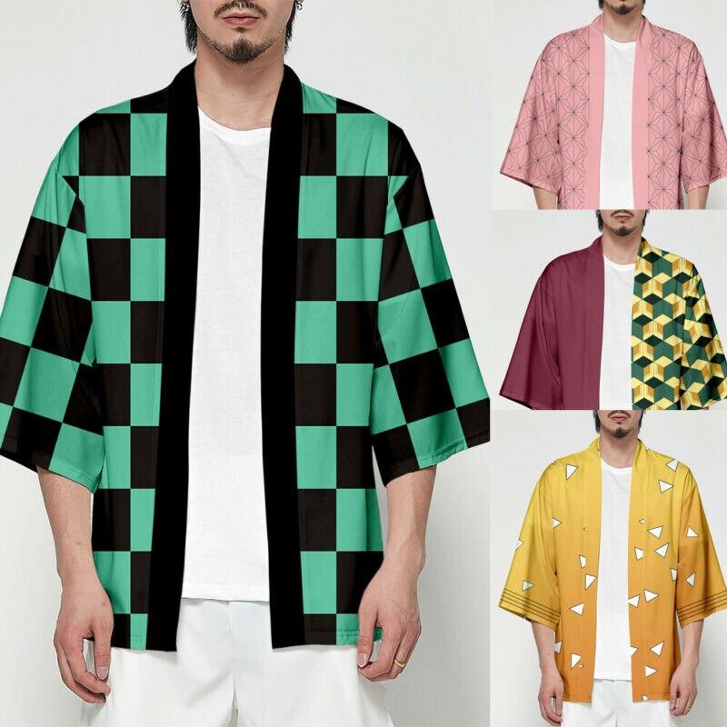 Unisex cazadora de Kimetsu no Yaiba personajes Cosplay Kimono abrigo camisas