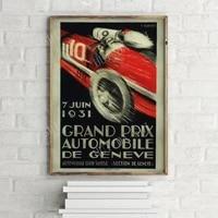 grand prix automobile de geneve vintage advertisement poster retro wall art print