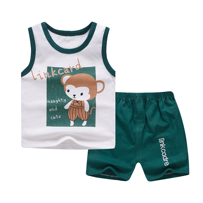 Niños niños ropa verano dibujo de mono chaleco camiseta Tops + Pantalones cortos bebé conjunto de ropa de niño ropa infantil 1 2 3 4 años