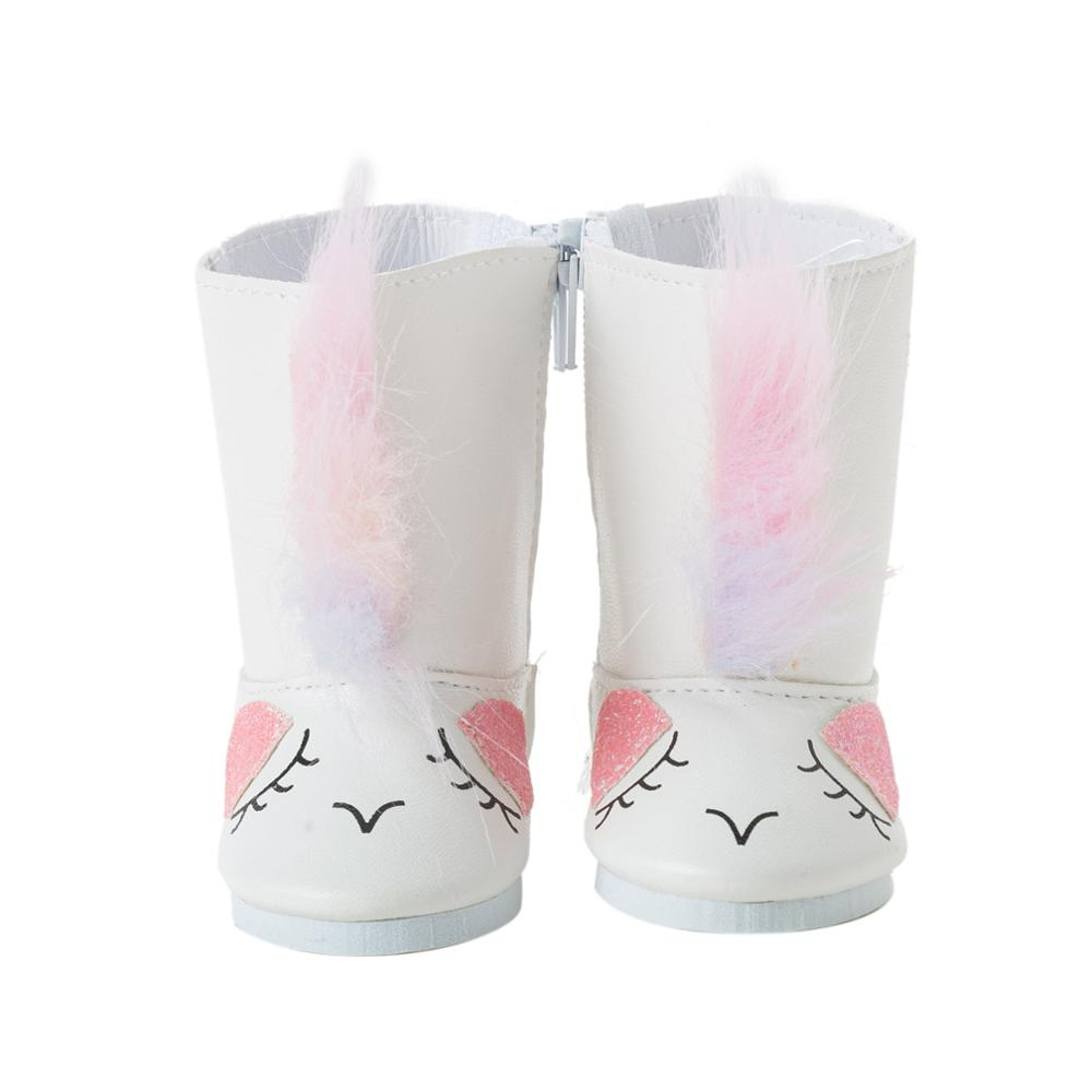 2020 New Fit 17 inch 43cm Baby New Born Doll Accessories Doll White Plush Cat Shoes For Baby Birthday Gift недорого