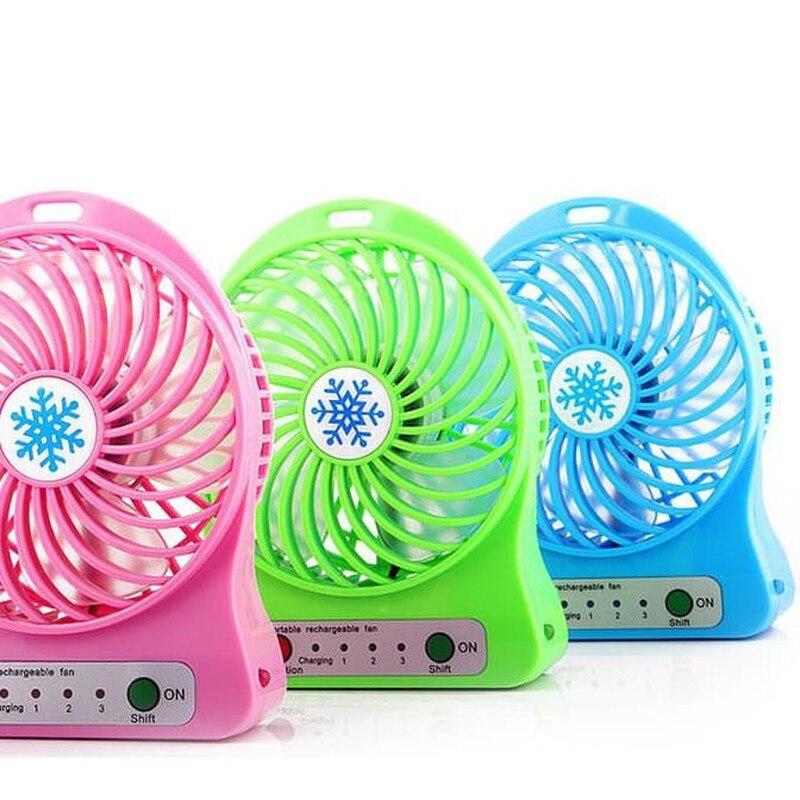 2019 ventilador portátil recargable de luz LED de verano Mini USB de carga de aire enfriador 3 modos ventilador de regulación de velocidad