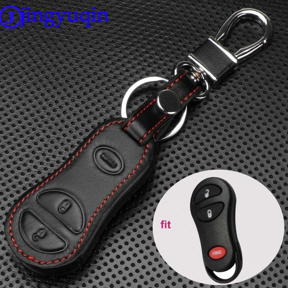 Jingyuqin à distance en cuir voiture clé housse pour Chrysler Dodge Jeep bâche de voiture 3 boutons support