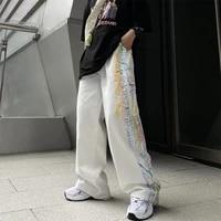 qweek harajuku tie dye white cargo pants women hippie streetwear graffiti print oversize black wide leg trousers for female kpop