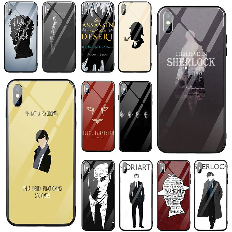Funda de vidrio templado para iPhone X XR XS 11 12 Pro Max 5 5S SE 2020 6 6S 7 8 Plus Sherlocked I Am Sherlock Dr lamer