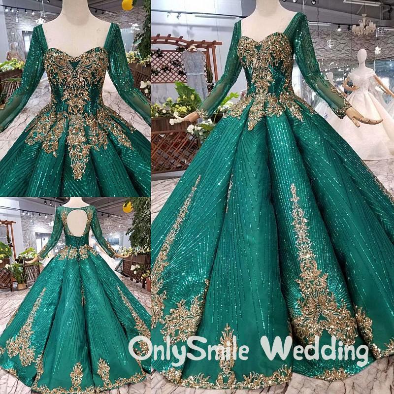 Árabe musulmán De manga larga Vestidos De novia verde De encaje dorado inflado piso longitud olas vestido De baile Vestidos De Noiva Estilo Princesa