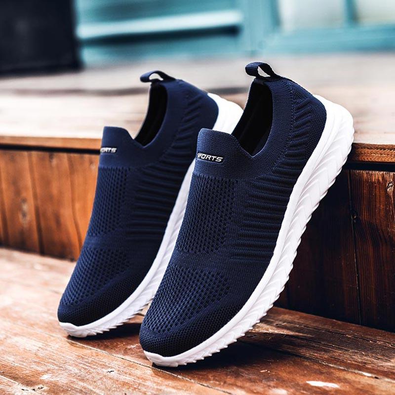 Léger tricoté femme chaussures de Sport femme Sport baskets chaussettes femmes chaussures de course 2020 femmes chaussures de Sport bleu D-424