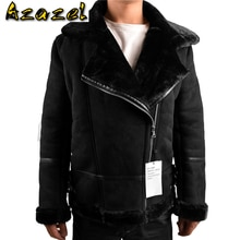 Automotive Designer Winter Mens Shearling Fur Jacket Velvet Warm Imported Leather Overcoats For Man